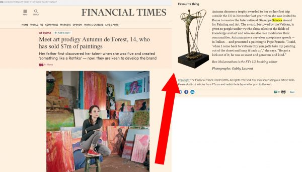 Autumn ricorda il Premio al Financial Times